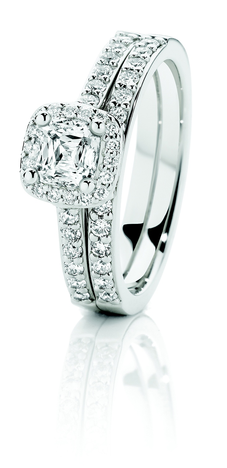 0.75ct of Diamonds which feature the Crisscut and the matching wedding Ring