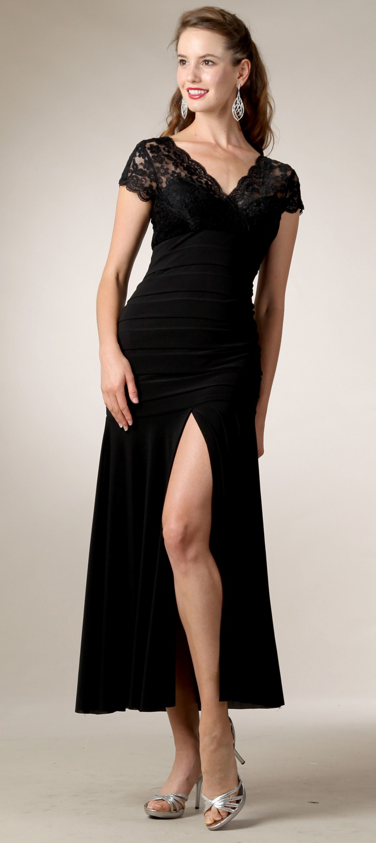 112 best formal gowns and dresses images on pinterest formal black lace top v neckline short sleeve with front slit long formal dress 5 formal maternity dressessemi ombrellifo Images