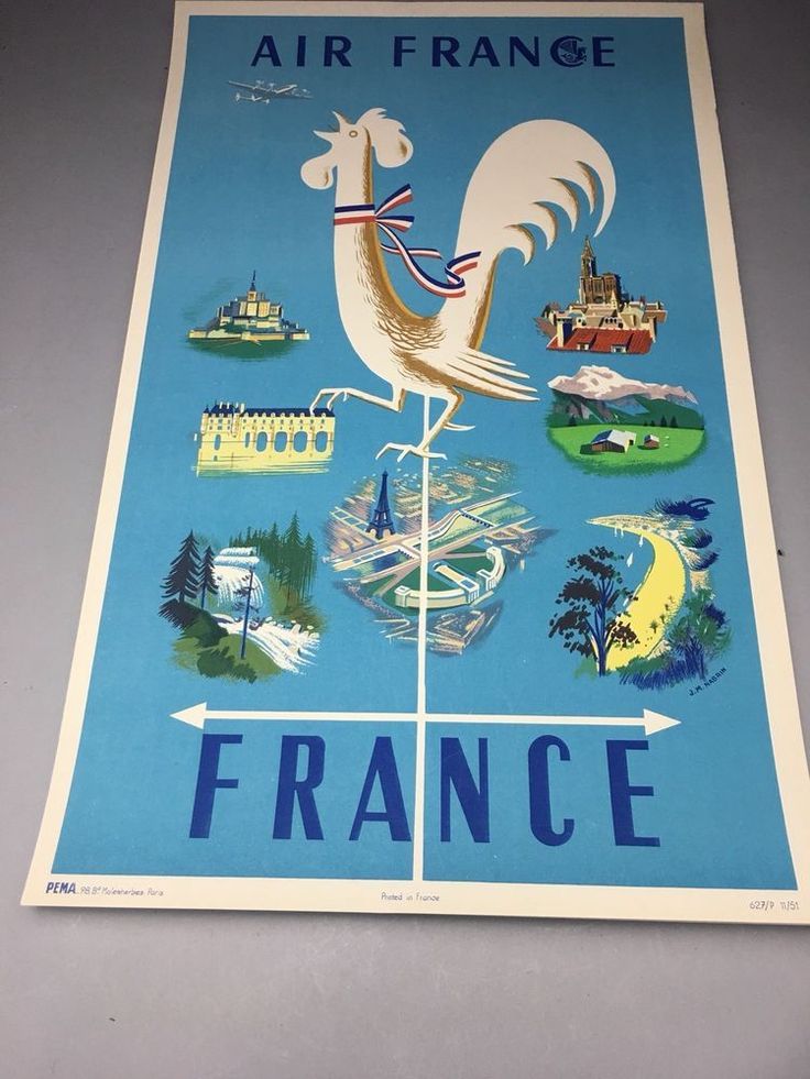 1951 Air France Lithograph Rooster Travel Airplane Advertising Poster    eBay