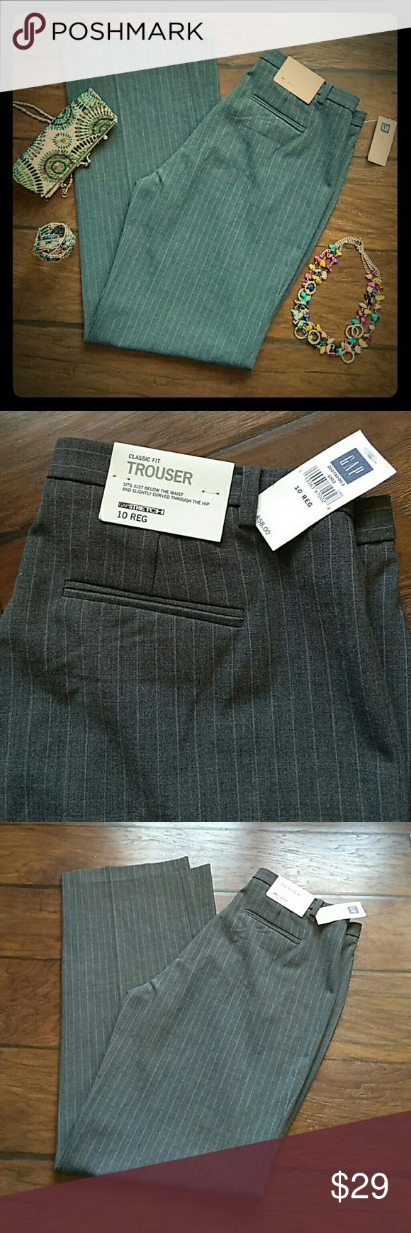Gap trouser pants size 10 Gray pinstripe Brand new with tags Gap stretch size 10 regular classic fit trouser just below the waist and slightly curved through the hip grey pinstripe pattern GAP Pants Trousers