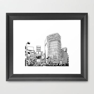 Tokyo - Shibuya Framed Art Print by Parisian Samurai Studio - $35.00