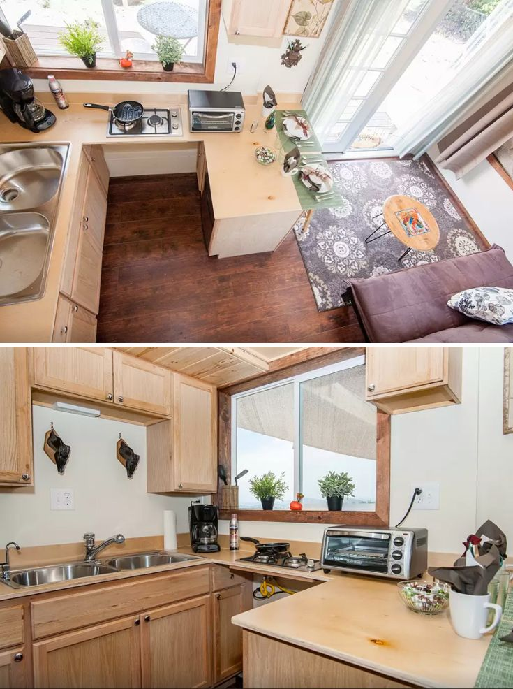 The Zen Cottages tiny house kitchen includes a wrap-around countertop, two burner cooktop, and large double sink.