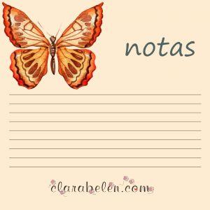 Imprimible descargable gratis de bloc de notas mariposas