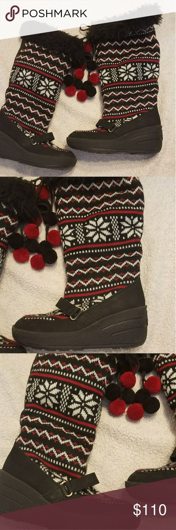 """Like new Juicy Couture wedged tall fur boots sz 8 Absolutely gorgeous design black and red 2.5"""" wedge #h Juicy Couture Shoes Winter & Rain Boots"""