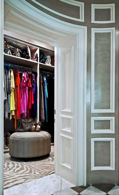 Beautiful Walk In Closet With Curved Walls
