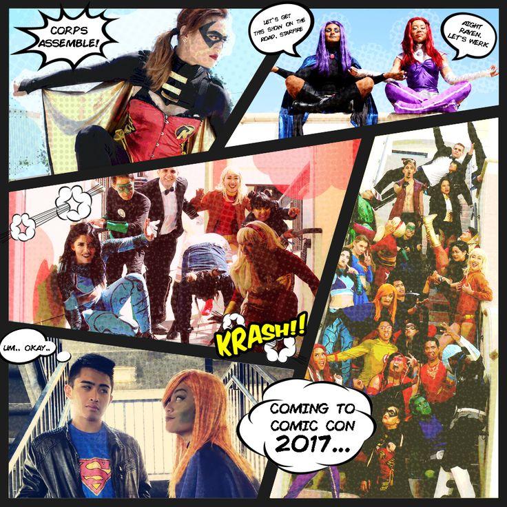 The Corps Dance Crew is going to San Diego Comic Con 2017!!  Watch our Teen Titans cosplay dance set during Masquerade!!  More information to come!  Teen titans, DC Comics, DC univers, Robin, TIm Drake, Raven, Starfire, Superboy, Miss Martian, Aquagirl, Green Lantern, Power Girl, Wonder Girl, Zachary Zatana, Terra, Bumble Bee, Kid Flash, Beast Boy, Cyborg, Kid Devil, Zatana, Super GIrl, Aqualad, Cheshire, Blue Beetle