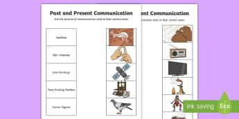 Communication Past and Present Word and Picture Matching Activity Sheet - Australian Curriculum  HASS  History of Communication,Year 2 History Content Descriptors and Elabora