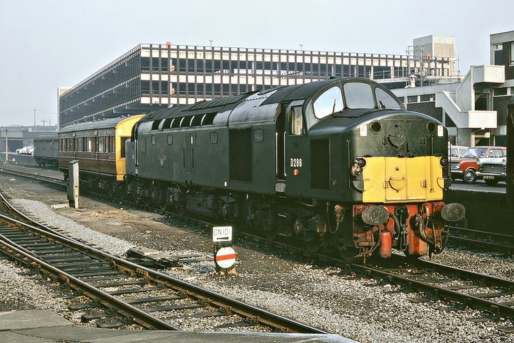 English Electric 2,000 hp 1Co-Co1 Type 4 no. D286 at Doncaster propelling an Officer's Inspection train consisting of an ex GER saloon. 8th February 1968 (Bill Wright)
