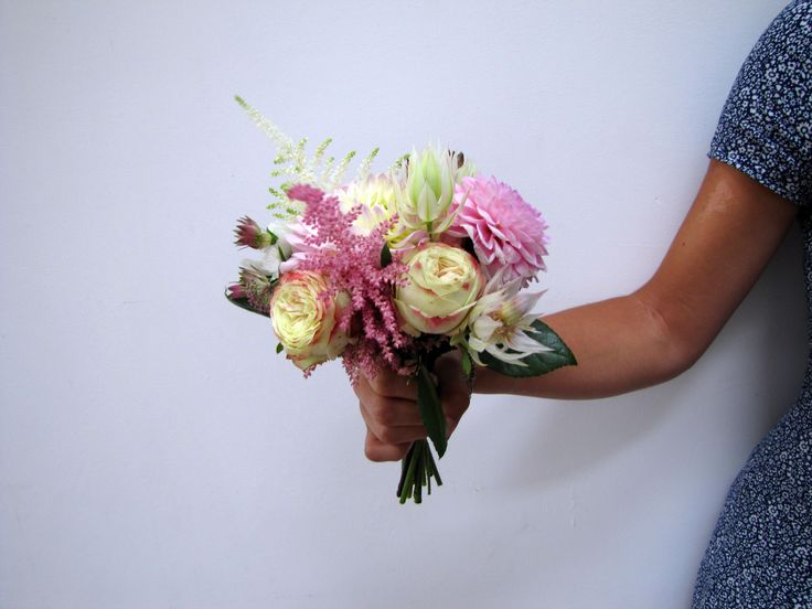 Bridesmaid's bouquet with Scabiosa, Dahlia, Astilbe, Roses and Seruria