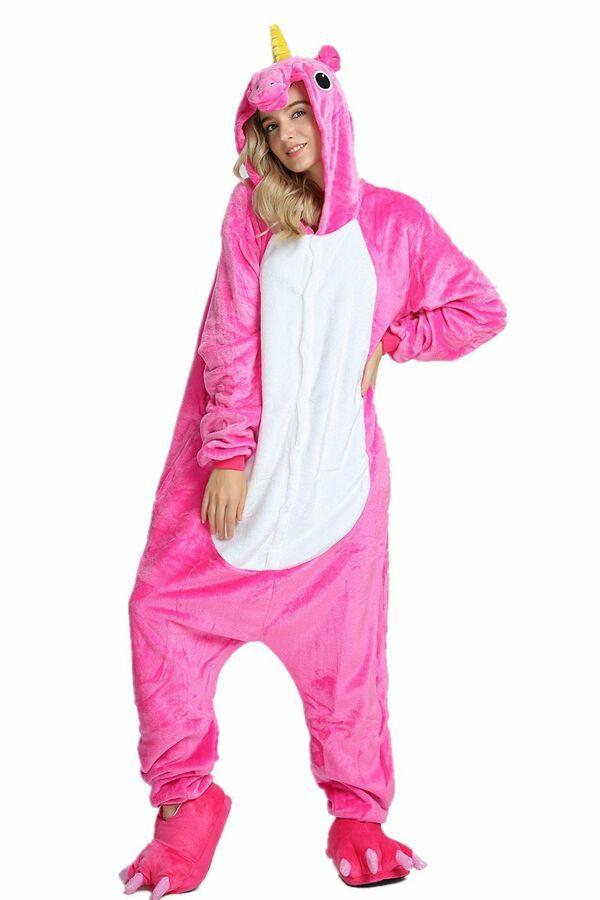 Unisex Kigurumi Pajamas One Piece Cosplay Unicorn Costume Animal Sleepwear