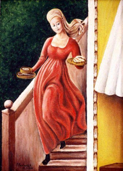 Hostess - oil painting by Peter Pavluvcik.