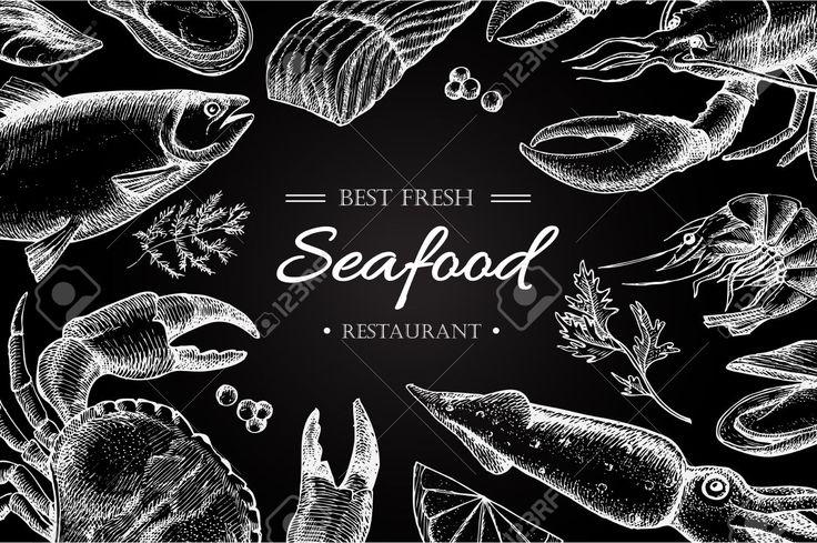 Vecteur restaurant de fruits illustration vintage. Tiré par la main bannière chalkbord. Grande pour le menu, bannière, flyer, carte, des fruits de mer entreprises promouvoir.