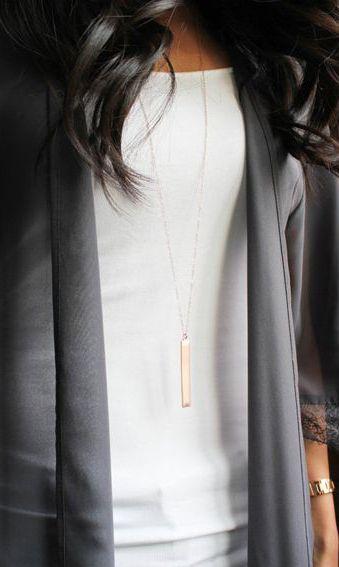 Long Gold Bar Necklace