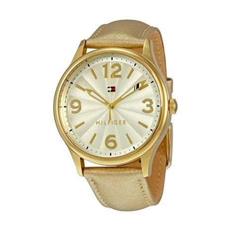 Tommy Hilfiger Metallic Light Champagne Dial Gold Leather Ladies Watch 1781591