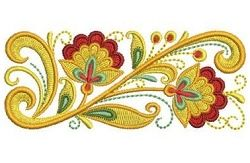 Russian Folk Art Khokhloma 5 - 4x4 | Borders | Machine Embroidery Designs | SWAKembroidery.com