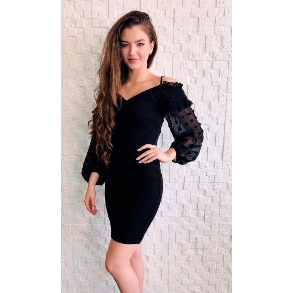 dcc340bb5e Fekete hosszú ujjú Emamoda ruha | Alkalmi ruha ekkor: 2019 | Dresses,  Bodycon Dress és Shoulder dress