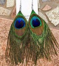 Isabelle Lehoux Montréal - Boucles d'oreilles plumes de paon