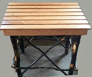 Amish Furniture Ohio Hickory End Table with Oak Slat Top