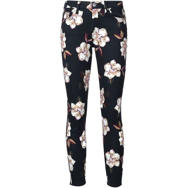 7 For All Mankind floral print skinny jeans (5,755 MXN) ❤ liked on Polyvore featuring jeans, pants, bottoms, floral, trousers, black, cut skinny jeans, skinny leg jeans, skinny jeans and floral print jeans