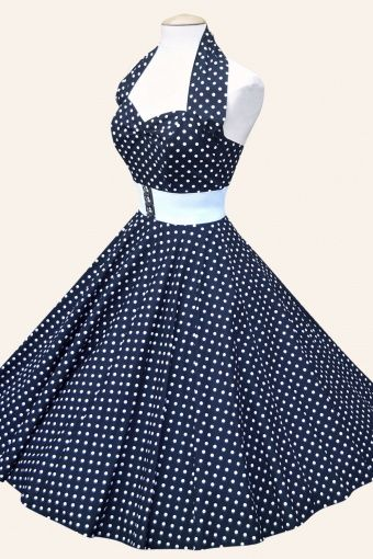 halter Navy Witte Spot jurk katoen sateen | Jaren 50 kleding | Jaren 60 kleding | Jaren 50 jurken