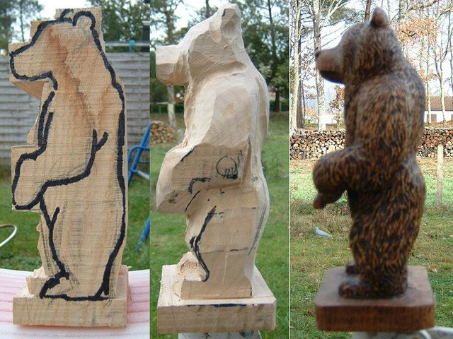 how to carve a bear head out of wood 2