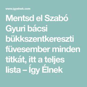 Mentsd el Szabó Gyuri bácsi bükkszentkereszti füvesember minden titkát, itt a teljes lista – Így Élnek