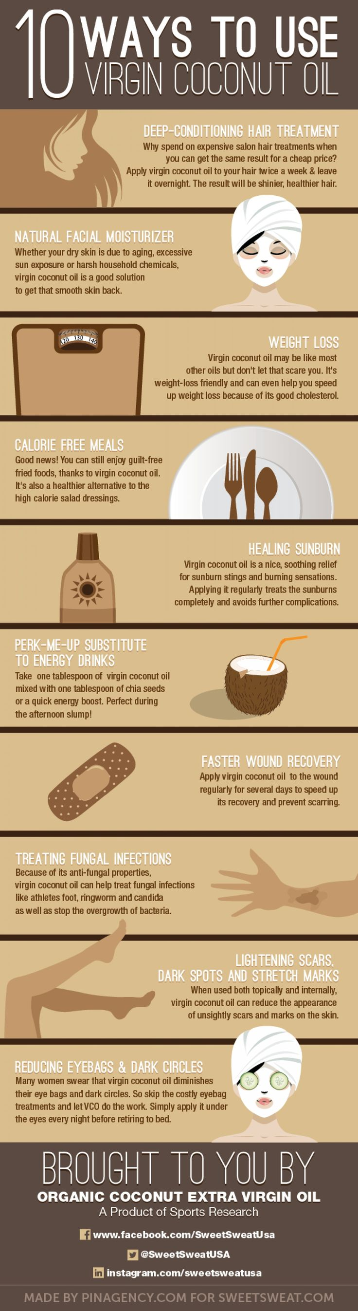 10 Amazing Uses For Coconut Oil (Infographic)  http://diyorganix.com/10-amazing-uses-for-coconut-oil-infographic/