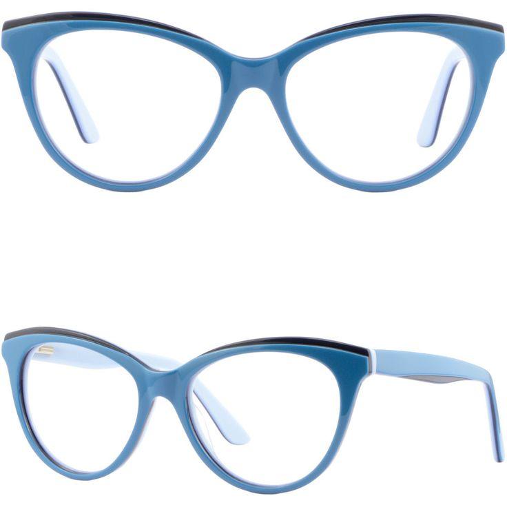 Cat Eye Womens Plastic Frames Spring Hinges Acetate RX Prescription Glasses Blue