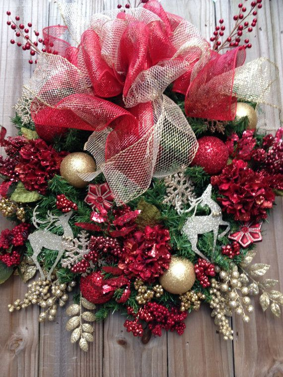 Red and Gold Christmas Wreath Christmas by KathysWreathShop, $79. Description from pinterest.com. I searched for this on bing.com/images