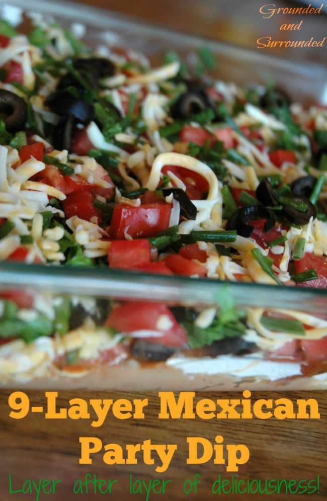 Need an easy, healthy and fun dish to take to your next potluck or party? This taco dip does not disappoint with it's fresh and bold flavors. Who doesn't love layers of fresh ingredients piled high? You may have made a dip similar to this in the past, but have you used layers of freshly sliced avocados or Greek yogurt? The fresh ingredients in this dip are really what make it shine. http://www.groundedandsurrounded.com/recipe/9-layer-mexican-dip/