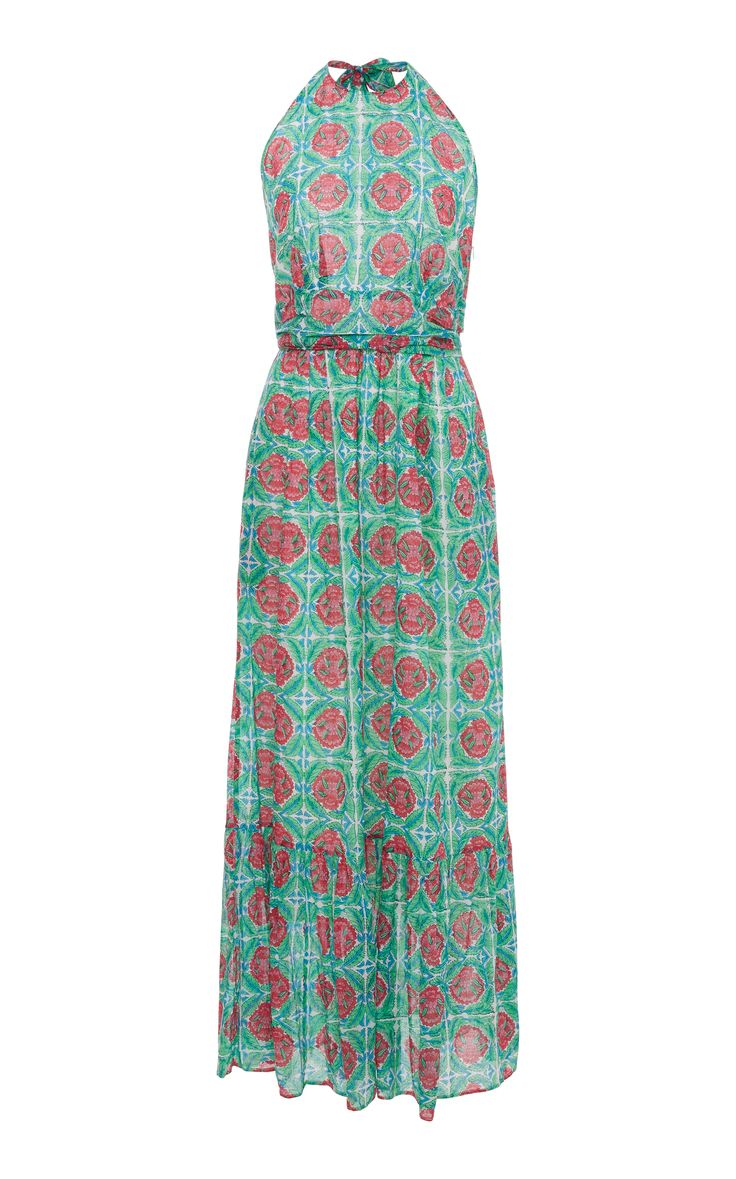 Capri Printed Halter Maxi Dress by BANJANAN