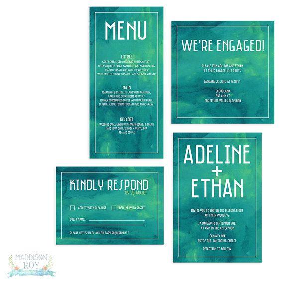 Green Watercolour ~ Vibrant Colourful Watercolour ~ Wedding Party Birthday Invitation Event Set Suite ~ Custom ~  Invite Template Printable