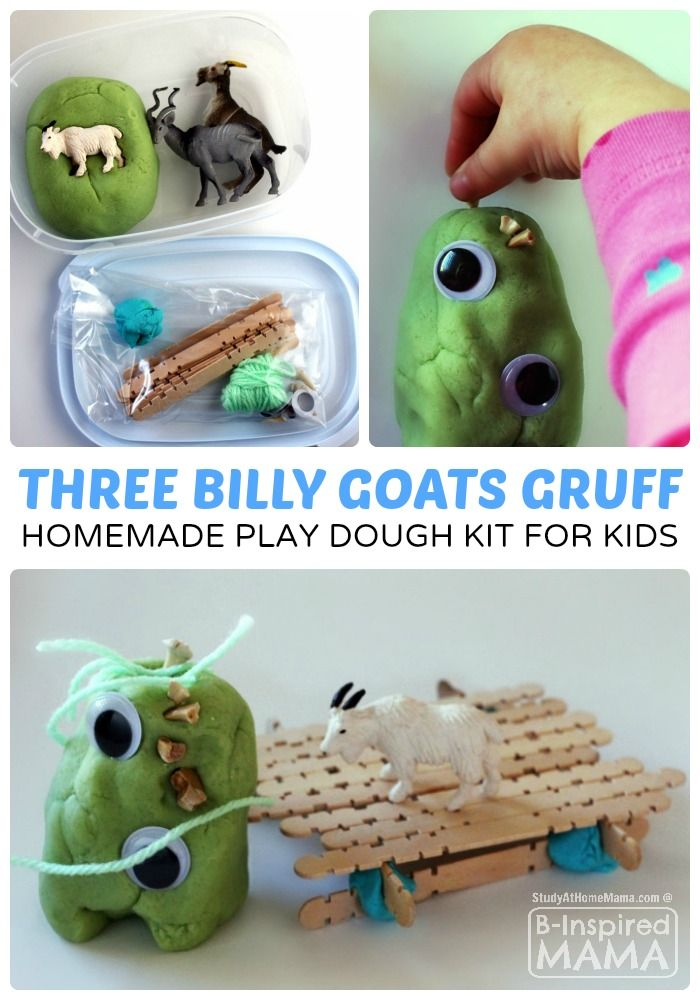 Three Billy Goats Gruff Homemade Play Dough Kit for Kids - at B-Inspired Mama