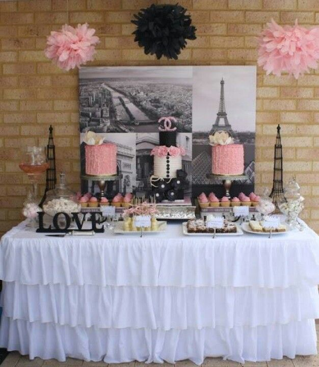 Paris birthday party candy bar table cute ideas for Paris themed kitchen ideas