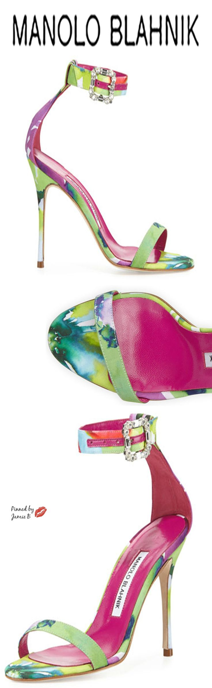 Manolo Blahnik ~Eufida Floral-Print Fabric Sandal