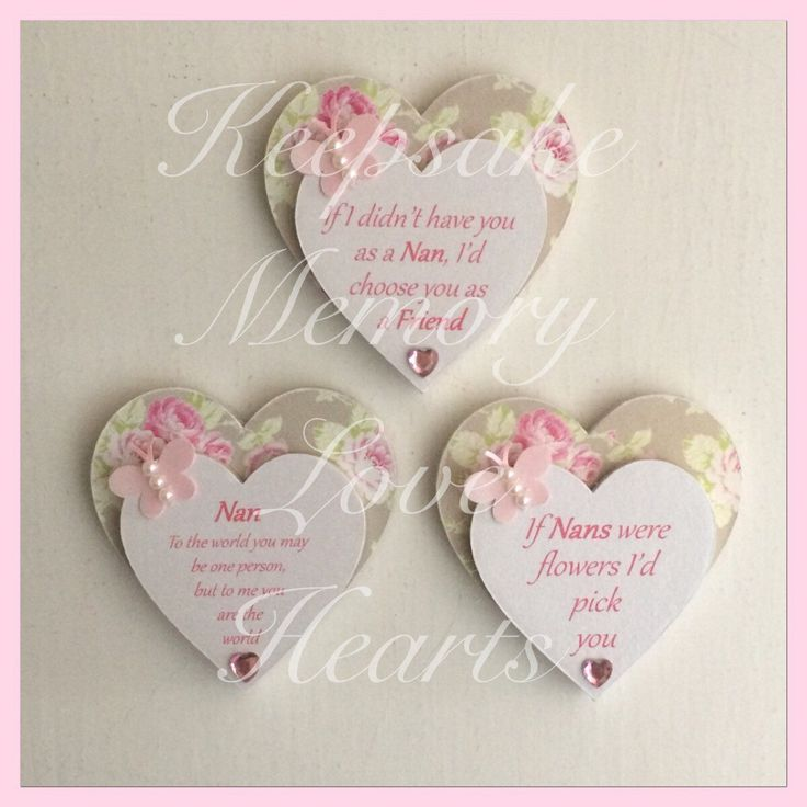 Gift for Nan wooden heart magnet set of 3 - pinned by pin4etsy.com