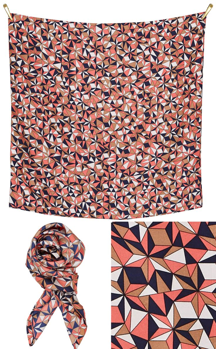 3D silk scarf | Camel/Navy/Dusty Coral Beautiful silk scarf, size 90x90cm, in 100% Silk Twill with rolled hand stitched edges #aw16 stars trend style for the colour fashion outfit #accessories