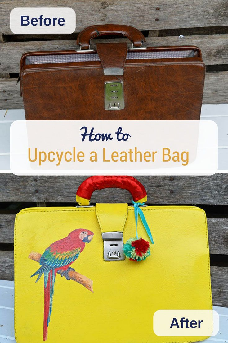 How to upcycle a thrift store leather bag with yellow spray paint and image transfer of a tropical macaw.