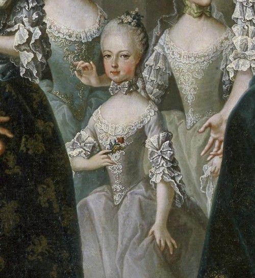 Detail of a young Marie Antoinette, taken from a family portrait.