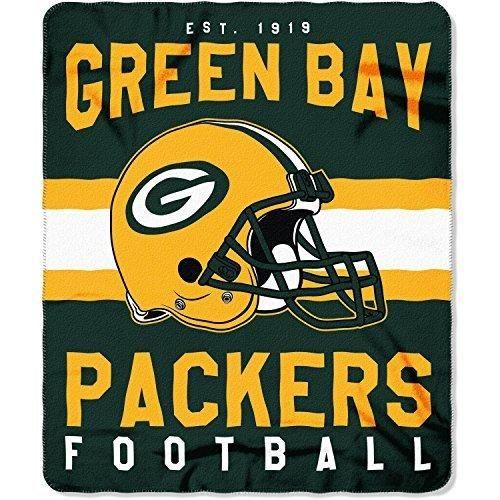 NFL Packers Throw Blanket 50 X 60 Football Themed Bedding Sports Patterned Team Logo Fan Merchandise Athletic Team Spirit Fan Gold Dark Green Fleece