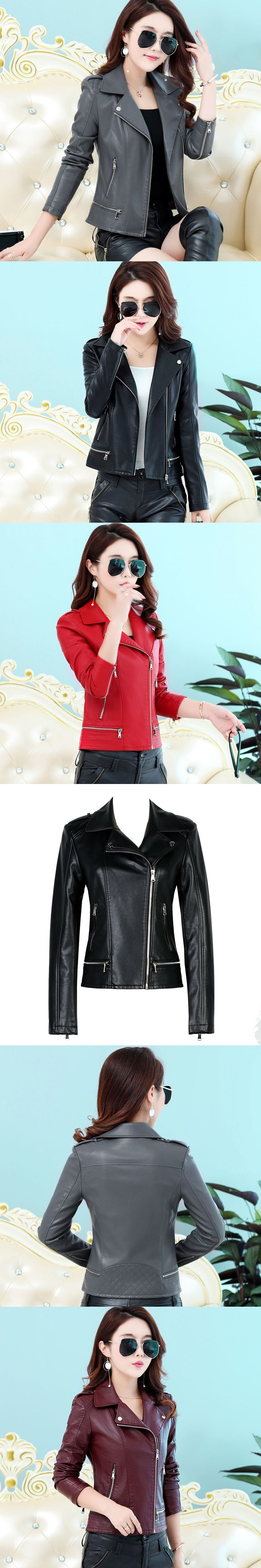 Women leather Jackets 2017 New Ladies Black Faux Leather Jackets Short Slim Motorcycle Zipper Coat Female Outerwear Clothing