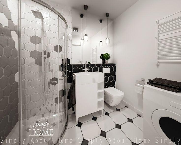 simply about home: Heksagony i klimat B&W w małej łazience.