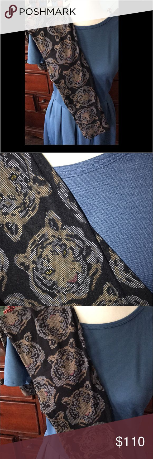 Lularoe digital tiger pixel OS +blue Amelia medium New without tags for both!!! No signs of wash or wear or use. Crotch shot included of leggings. Smoke free dog friendly home LuLaRoe Dresses