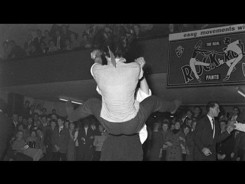 "1957. First battle for the Dutch Rock and Roll Championship in hotel Krasnapolsky in Amsterdam. The championship was hosted by Columbia International Films Holland as an introduction to the film ""Do not Knock the Rock."" Wim Booker and Rita van Braak won the contest. (Dutch narration) #amsterdam #1957 #Krasnapolsky #Rockandroll"
