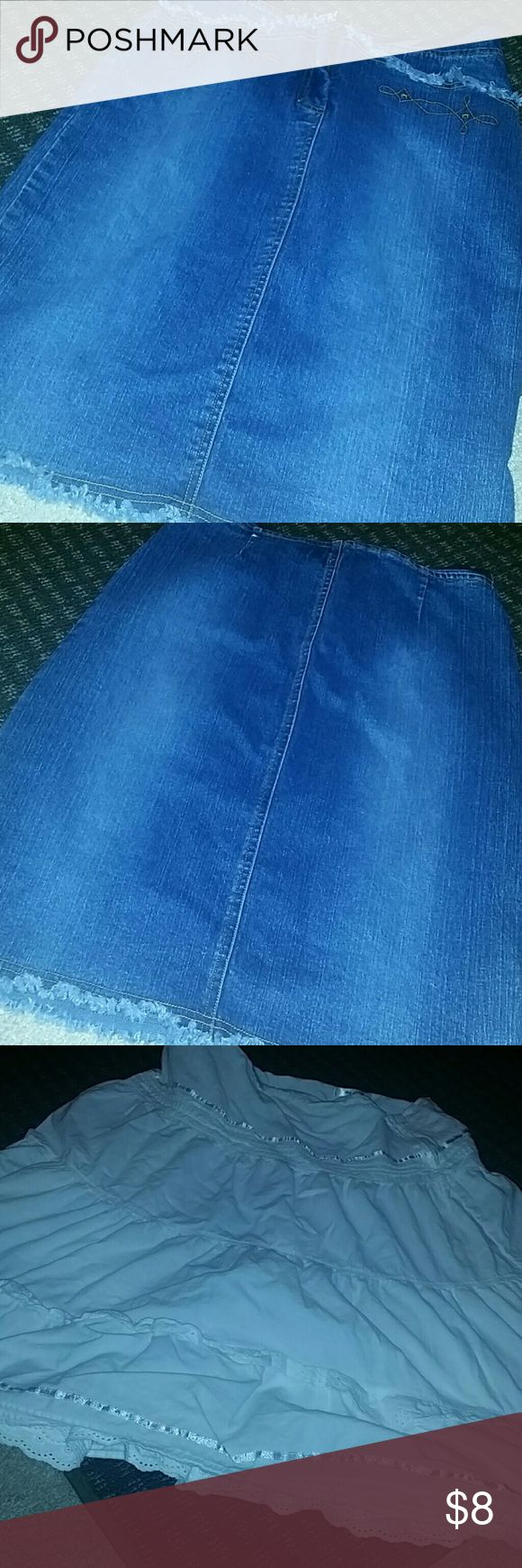 Joyce Jeans Ladies Skirt Buy one get one free  White skirt is free if you buy blue jean skirt  White skirt is either large or extra large brand is be cool Joyce Jeans Skirts
