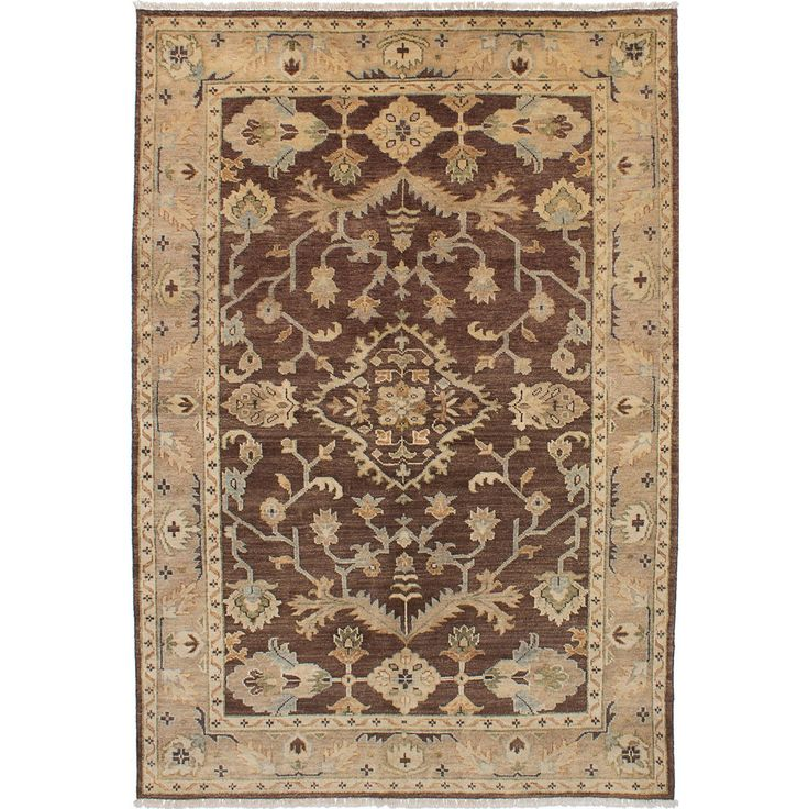 ecarpetgallery Hand-Knotted Royal Ushak Brown Wool Rug (6'0 x 8'10) (Brown Dark Brown Rug (6' x 8')), Size 6' x 8' (Cotton, Oriental)