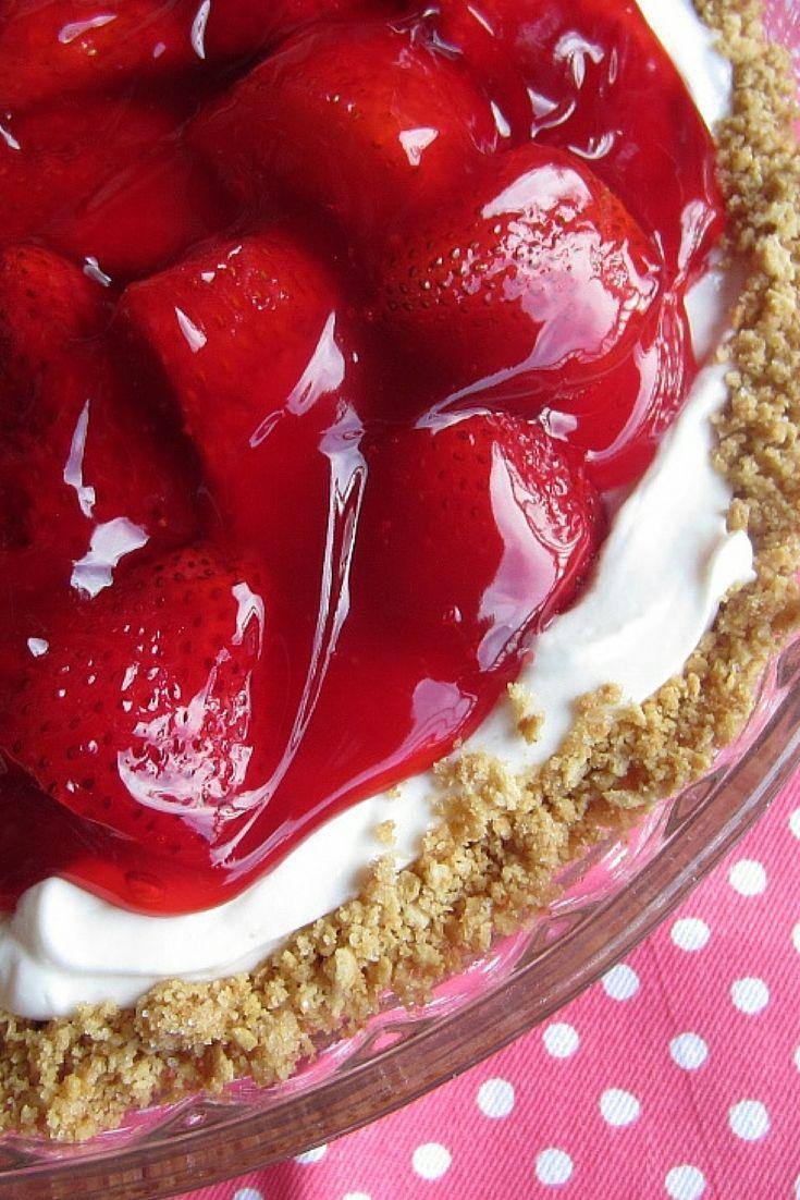 Easy Strawberry and Cream Pie | Renee's Kitchen Adventures: Easy no bake pie that  tastes like summer!