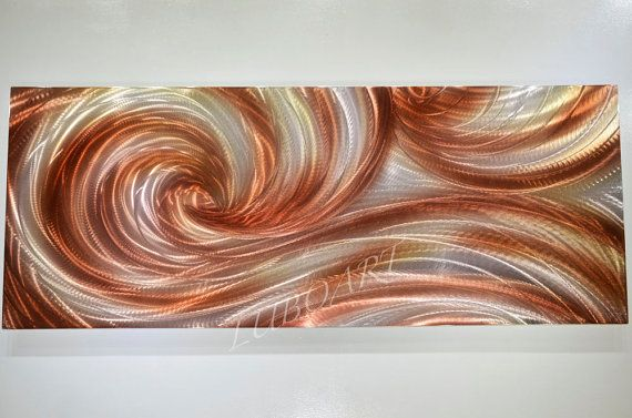 Long copper brown abstract METAL art painting modern dance original contemporary wall decor shiny brilliant big sculpture hand made by Lubo