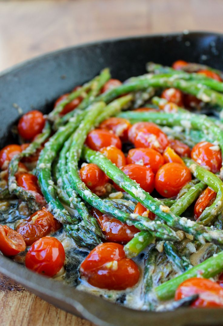 Sautéed Asparagus and Cherry Tomatoes. This was good but I made it without the cream.