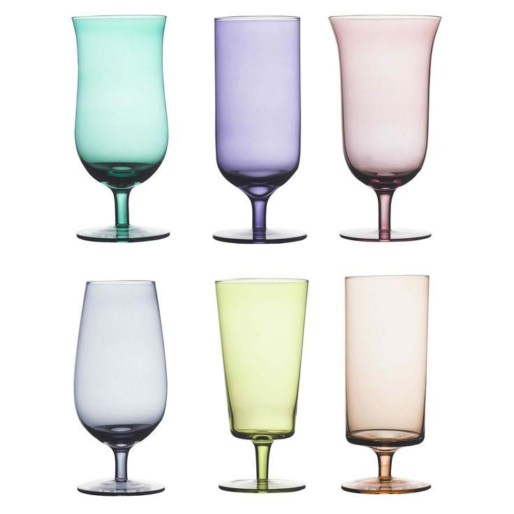 Set da 6 bicchieri da birrain vetro soffiato colorato.